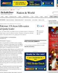 Pakistan US drone kills senior al Qaida leader: Seattle Times